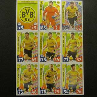最新 17/18 歐聯 Match Attax Champions League 18 cards TEAM set #Dortmund 多蒙特