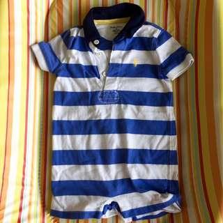 Ralph Lauren Baby Blue Striped Jersey Romper Onesie 9 months
