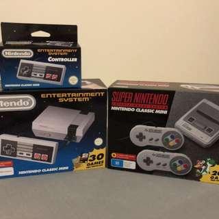 SNES Mini + NES Mini Consoles