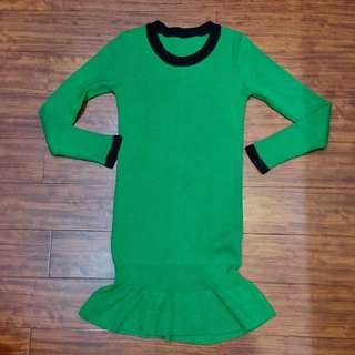 🚚 韓國製 綠 針織洋裝 魚尾裙 毛衣