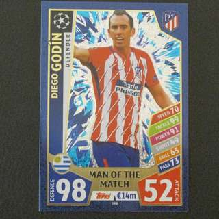 最新 17/18 歐聯 Match Attax Champions League MOTM - Diego GODIN #Club Atletico De Madrid 馬體會