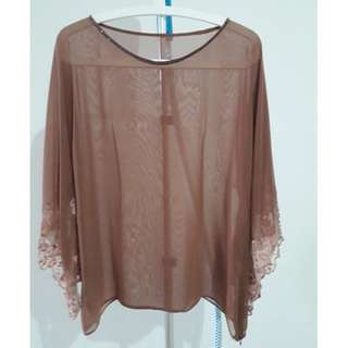 Beige chiffon top with kimono inspired sleeves with lace/beads. Size M