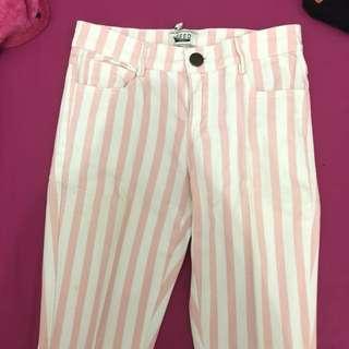 jeans stripes pink putih