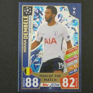 最新 17/18 歐聯 Match Attax Champions League MOTM - Mousa DEMBELE #Tottenham Hotspur 熱刺
