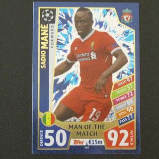 最新 17/18 歐聯 Match Attax Champions League MOTM - Sadio MANE #Liverpool 利物浦