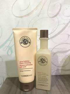 Face shop mild toner and cleanser