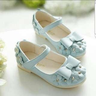 Korean Bow Girl Shoes Baby Blue Size 30 For Little Girls