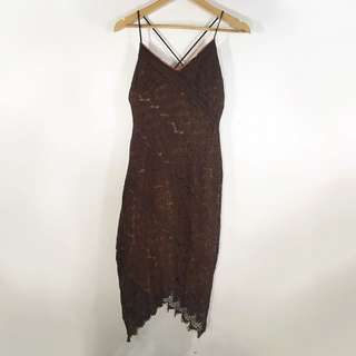 Brown Lace Boho Dress