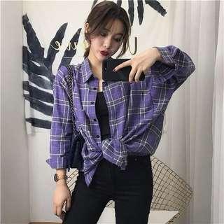 🚚 紫色格紋襯衫