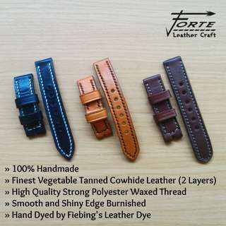 CUSTOM HANDMADE OPEN STITCH LEATHER WATCH STRAP | Tali Kalep Jam Tangan Kulit Asli