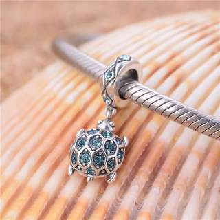 Code MS368 - Turtle Tortoise With Blue Cz 100% 925 Sterling Silver Charm, Chain Is Not Included, Compatible With Pandora