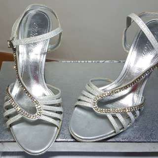 Silver Strappy Heels with Crystals for sale!