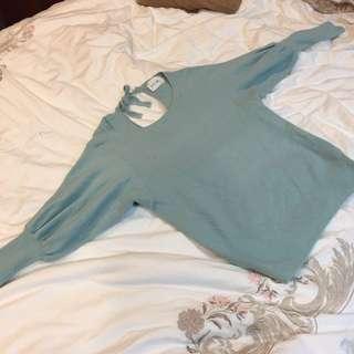 🚚 韓國製 Tiffany綠 針織上衣 毛衣