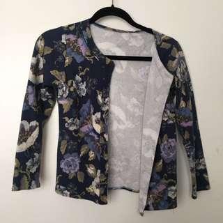 Floral Blue Round Neckline Jacket