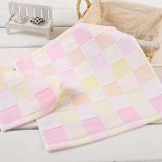 🚚 彩格紗布方巾 /純棉小方巾~柔軟嬰幼兒口水巾/10條