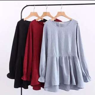 (XL~3XL) Women's spring loose Ms. solid color long sleeve cotton T-shirt doll shirt