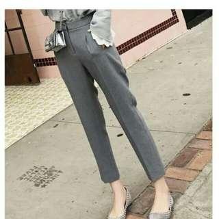 兩件九折。無語的優雅。知性質感灰色高腰西裝褲長褲鉛筆褲顯瘦筆挺襯衫百搭