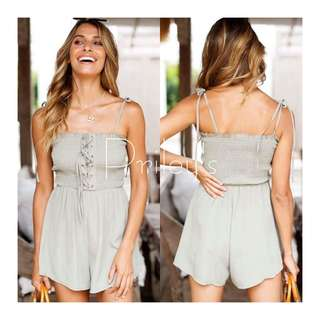 Lace-up Gray Romper