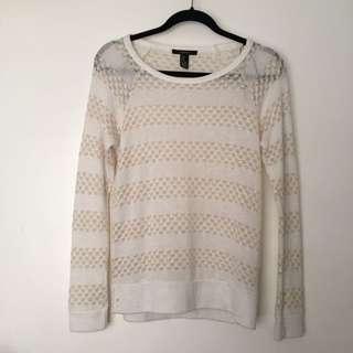 Beige-Striped Knit Sweater