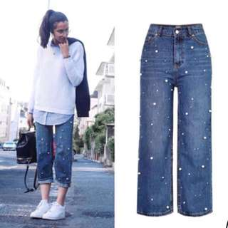 (34~42) European and American women's high waist straight loose wide leg jeans horn trousers pearl studded irregular
