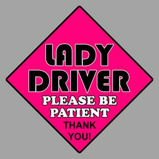 Car Sticker - Lady Driver Pink