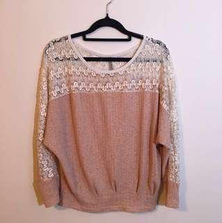 Lace shoulder/sleeve beautiful cute elegant blouse free size made in korea