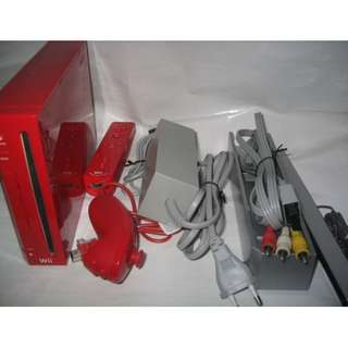 red Wii console full set