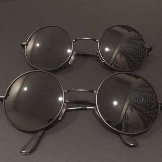 Round Black Sunglass