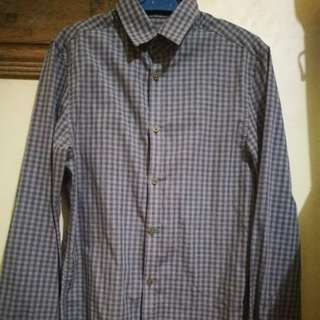 H&M Black and Gray Buttoned-Down Plaid Polo