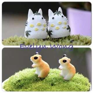 ☘ Terrarium Accessories / Miniature / scrapbooking, gardening deco, photo frame deco, home deco, figurine etc - Mini Lovely White Totoro / Squirrel