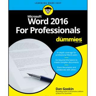 Ebook Word 2016 For Professionals For Dummies®