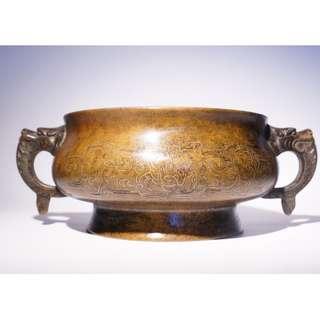 玉堂清玩銅嵌銀絲獸耳簋式爐