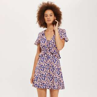 Topshop blue daisy dress