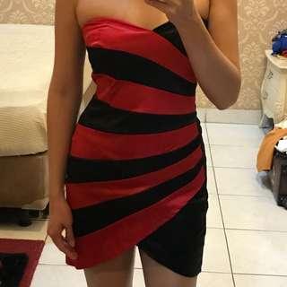 Tube red black dress