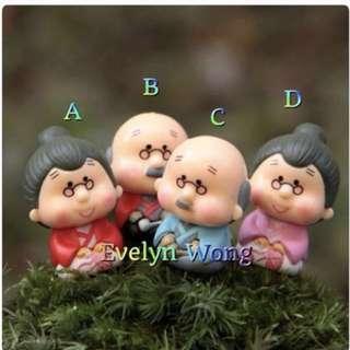 ☘ Terrarium Accessories / Miniature / scrapbooking, gardening deco, photo frame deco, home deco, figurine etc - Kimono GrandPa & GrandMa