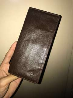 Long brown leather wallet