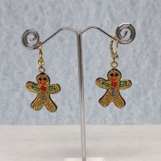 Gingerbread Man Earrings with Swarovski Crystals