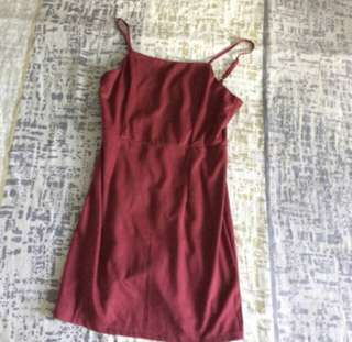 Suede Red Dress