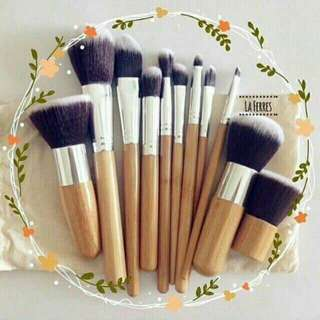 11pc Bamboo Make Up Brush Set