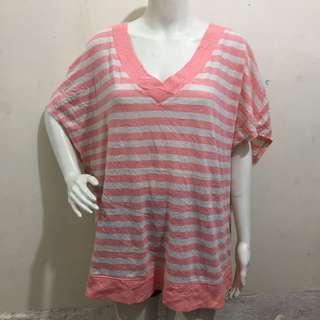 LANE BRYANT V-neck salmon pink plus size ladies/women blouse 22/24
