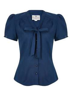Collectif Vintage Tura Navy Blouse