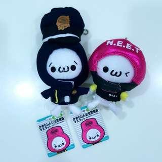 Two Japan Cute Kaomoji Plush Mascot Accessory Charm Doll with chain