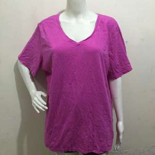FADED GLORY fuschia plain plus size women/ladies blouse tshirt
