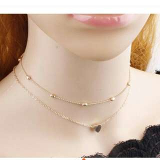 layered choker necklace w/pendant