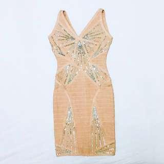 Nude Sequin Bandage Dress bodycon