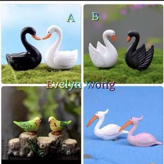 ☘️ Terrarium Accessories / Miniature / scrapbooking, gardening deco, photo frame deco, home deco, figurine, plant deco, card making, accessories etc - Black & White Swan, White & Pink Flamingo, Parrot, Bird