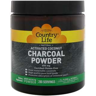 Country Life, Natural Activated Coconut Charcoal Powder, 500 mg (141.7 g)