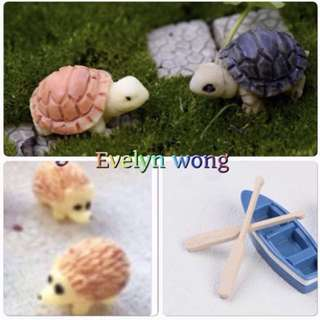 ☘️☘ Terrarium Accessories / Miniature / scrapbooking, gardening deco, photo frame deco, home deco, figurine etc - Turtle / Tortoise / Blue Boat / Oar / Hedgehog