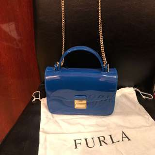 Furla Blue 2 way small Candy bag