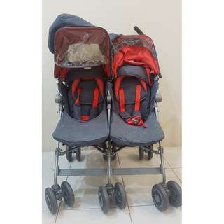 Maclaren Twin Techno Stroller Tangerine Orange